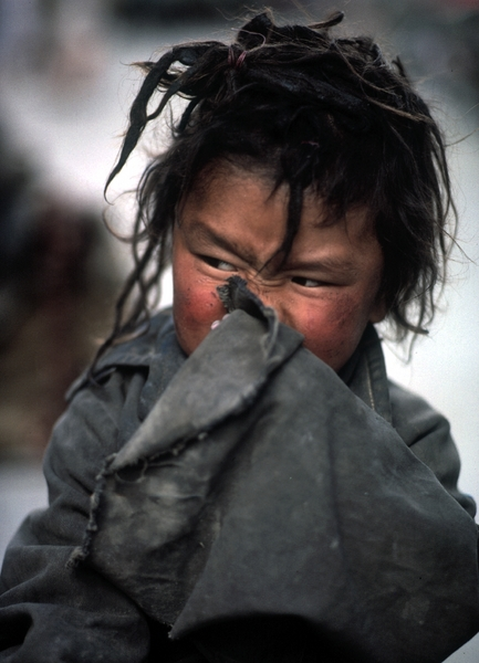 A street urchin in Lhasa. © 1987 by Mark Avery