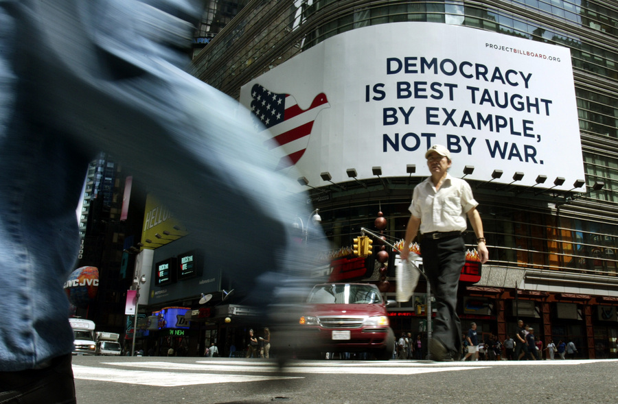 An anti war billboard in Times Square during the Republican National Convention in New York. © 2004 Mark Avery/Orange County Register